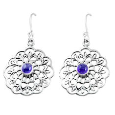 Clearance Sale- 1.81cts natural purple amethyst 925 sterling silver dangle earrings d31566