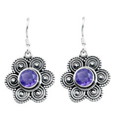 Clearance Sale- 2.89cts natural purple amethyst 925 sterling silver dangle earrings d31639
