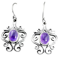 4.40cts natural purple amethyst 925 sterling silver dangle earrings p34389