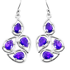 12.07cts natural purple amethyst 925 sterling silver dangle earrings p36662