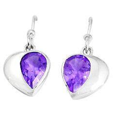 4.04cts natural purple amethyst 925 sterling silver dangle earrings p36722