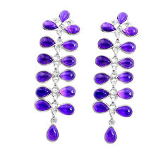 19.73cts natural purple amethyst 925 sterling silver dangle earrings p43805