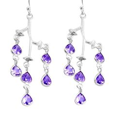 10.22cts natural purple amethyst 925 sterling silver dangle earrings p43845