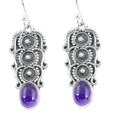 4.46cts natural purple amethyst 925 sterling silver dangle earrings p59941