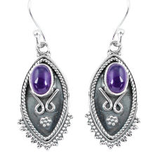 3.73cts natural purple amethyst 925 sterling silver dangle earrings p60042