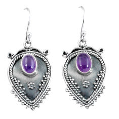 3.36cts natural purple amethyst 925 sterling silver dangle earrings p60089