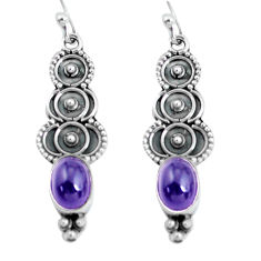 4.18cts natural purple amethyst 925 sterling silver dangle earrings p60107