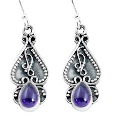 3.18cts natural purple amethyst 925 sterling silver dangle earrings p60172