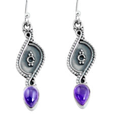 3.44cts natural purple amethyst 925 sterling silver dangle earrings p60238