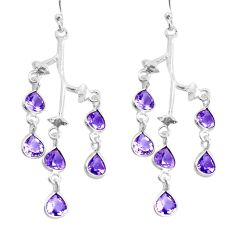 10.05cts natural purple amethyst 925 sterling silver dangle earrings p60705