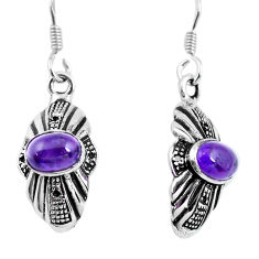 3.42cts natural purple amethyst 925 sterling silver dangle earrings p63867
