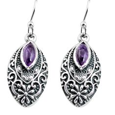 3.28cts natural purple amethyst 925 sterling silver dangle earrings p63870