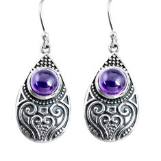 4.55cts natural purple amethyst 925 sterling silver dangle earrings p63940