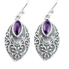 3.68cts natural purple amethyst 925 sterling silver dangle earrings p64021