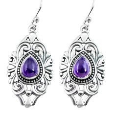 4.54cts natural purple amethyst 925 sterling silver dangle earrings p64908