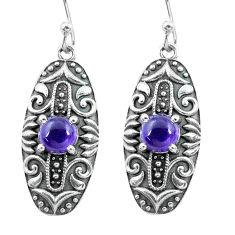 2.65cts natural purple amethyst 925 sterling silver dangle earrings p64941