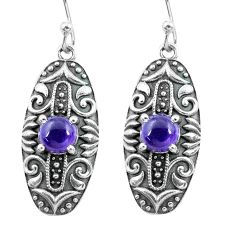 2.68cts natural purple amethyst 925 sterling silver dangle earrings p64943