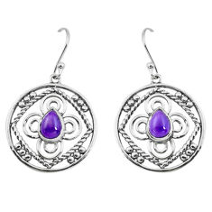 3.19cts natural purple amethyst 925 sterling silver dangle earrings p66469