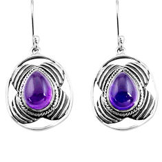 6.31cts natural purple amethyst 925 sterling silver dangle earrings p77565