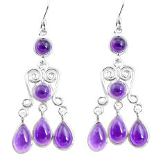 13.15cts natural purple amethyst 925 sterling silver dangle earrings p78365