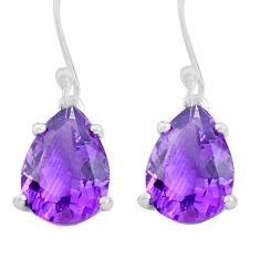 7.18cts natural purple amethyst 925 sterling silver dangle earrings p82158