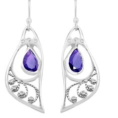 4.89cts natural purple amethyst 925 sterling silver dangle earrings p82243