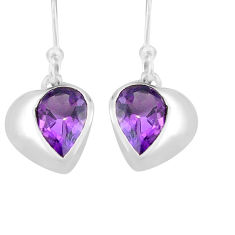 5.56cts natural purple amethyst 925 sterling silver dangle earrings p82302