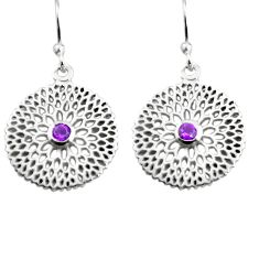 0.92cts natural purple amethyst 925 sterling silver dangle earrings p84022