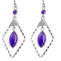 12.22cts natural purple amethyst 925 sterling silver dangle earrings p90001