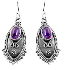 4.22cts natural purple amethyst 925 sterling silver dangle earrings p92742