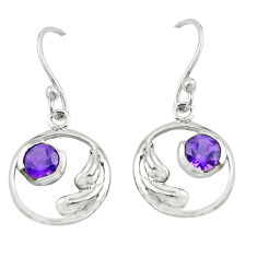 2.02cts natural purple amethyst 925 sterling silver earrings jewelry p62567