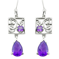 5.54cts natural purple amethyst 925 sterling silver earrings jewelry p62733