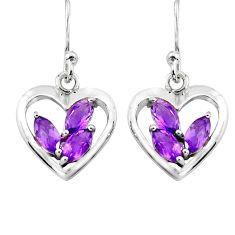 5.87cts natural purple amethyst 925 sterling silver heart love earrings p82365