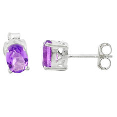 3.44cts natural purple amethyst 925 sterling silver stud earrings jewelry p74702