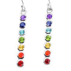 3.68cts natural purple amethyst cornelian 925 silver chakra earrings p36694
