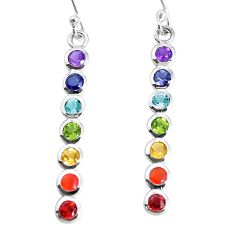3.77cts natural purple amethyst cornelian 925 silver chakra earrings p36699