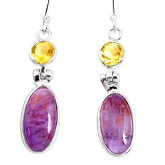 13.13cts natural purple cacoxenite super seven 925 silver dangle earrings p43186
