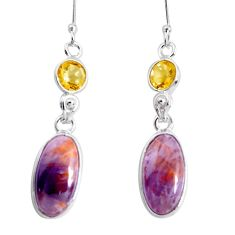 11.93cts natural purple cacoxenite super seven 925 silver dangle earrings p43218