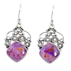 8.92cts natural purple cacoxenite super seven 925 silver dangle earrings p53329
