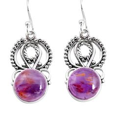 8.53cts natural purple cacoxenite super seven 925 silver dangle earrings p53337