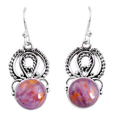9.61cts natural purple cacoxenite super seven 925 silver dangle earrings p53359