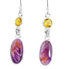 11.28cts natural purple cacoxenite super seven 925 silver dangle earrings p58071