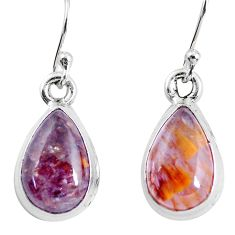 8.24cts natural purple cacoxenite super seven 925 silver dangle earrings p64523