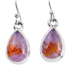 8.73cts natural purple cacoxenite super seven 925 silver dangle earrings p64527
