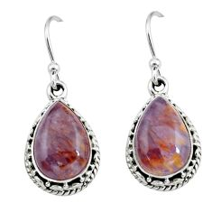 8.22cts natural purple cacoxenite super seven 925 silver dangle earrings p67242