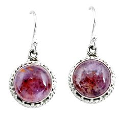 9.39cts natural purple cacoxenite super seven 925 silver dangle earrings p67245