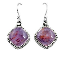 9.39cts natural purple cacoxenite super seven 925 silver dangle earrings p67279