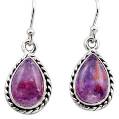 8.84cts natural purple cacoxenite super seven 925 silver dangle earrings p86122