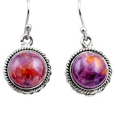 10.60cts natural purple cacoxenite super seven 925 silver dangle earrings p86140