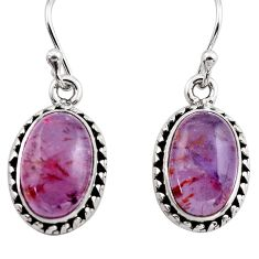 9.37cts natural purple cacoxenite super seven 925 silver dangle earrings p86141